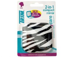 72 Bulk Trim Zebra Print 2 in 1 Compact Mirror with Magnetic Closure