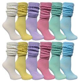 12 Bulk Yacht & Smith Women's Slouch Socks Size 9-11 Assorted Pastel Color Boot Socks