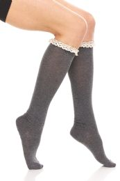 12 Bulk Yacht & Smith Womens Knee High Cotton Socks, With Lace Trim Top, Boot Socks Assorted Colors