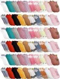 60 Bulk Yacht & Smith Girls Colorful Fun Printed Thin Lightweight Low Cut Ankle Socks