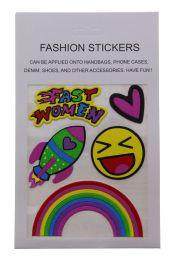 96 Bulk Fashion Puff Stickers Fast Women Heart Rocket Smiley And Rainbow