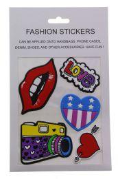 96 Bulk Fashion Puff Stickers Lips Love Hearts And Camera