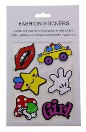 96 Bulk Fashion Puff Stickers Lips Car Star Hand Mushroom And Girl