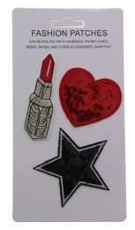 96 Bulk Sequin Fashion Patches Heart Star And Lipstick