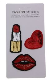 96 Bulk Sequin Fashion Patches Lipstick Heart And Lips