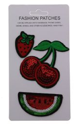 96 Bulk Sequin Fruit Fashion Patches Strawberries Cherries And Watermelon