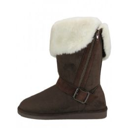 24 Bulk Women's Micro Suede Foldover Warm Winter Boots With Faux Fur Lining and Side Zipper