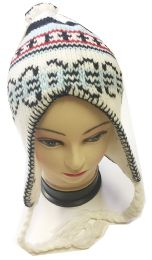 72 Bulk Knitted Earflap Beanie In Assorted Colors
