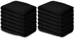 12 Bulk Yacht & Smith 50x60 Warm Fleece Blanket, Soft Warm Compact Travel Blanket Solid Black