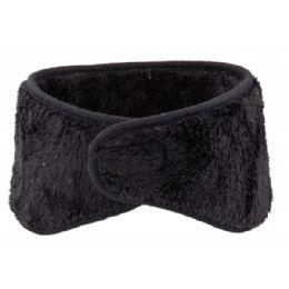 72 Bulk Winter Ear Warmer With Faux Fur Lining In Black