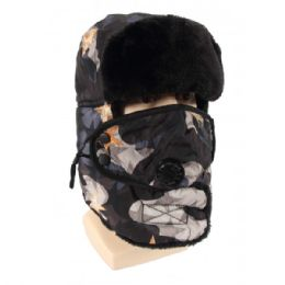 24 Bulk Winter Trapper Hat With Fur Camoflauge