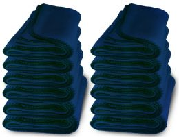 12 Bulk Yacht & Smith 50x60 Warm Fleece Blanket, Soft Warm Compact Travel Blanket Solid Navy