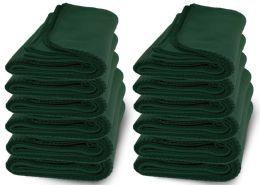 12 Bulk Yacht & Smith 50x60 Warm Fleece Blanket, Soft Warm Compact Travel Blanket Solid Hunter Green