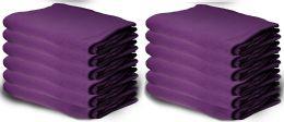 12 Bulk Yacht & Smith 50x60 Warm Fleece Blanket, Soft Warm Compact Travel Blanket Solid Purple
