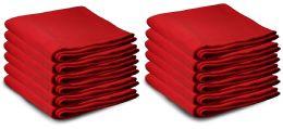 12 Bulk Yacht & Smith 50x60 Warm Fleece Blanket, Soft Warm Compact Travel Blanket Solid Red
