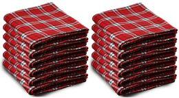 12 Bulk Yacht & Smith 50x60 Warm Fleece Blanket, Soft Warm Compact Travel Blanket Red Plaid