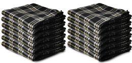12 Bulk Yacht & Smith 50x60 Warm Fleece Blanket, Soft Warm Compact Travel Blanket Black Plaid