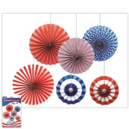 24 Bulk July Fourth Fan Decoration Set