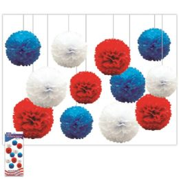 24 Bulk July 4th Pom Pom Flower Set