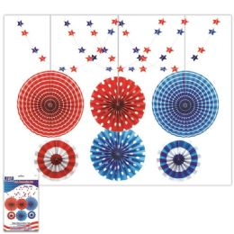 24 Bulk July 4th Decoration Fan Set