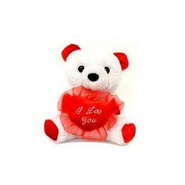 24 Bulk 6.5 Inch Valentine White Plush Bear