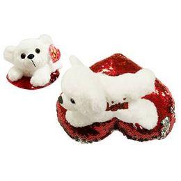 24 Bulk 8 Inch Valentine White Plush Puppy