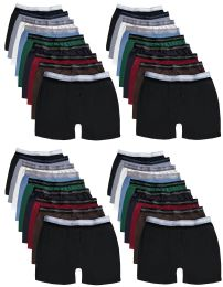 24 Bulk Yacht & Smith Mens 100% Cotton Boxer Brief Assorted Colors Size Medium