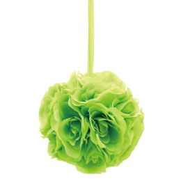 24 Bulk Eight Inch Pom Flower In Lime