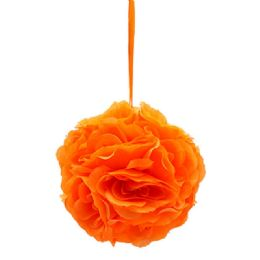 24 Bulk Eight Inch Pom Flower In Orange