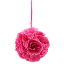 12 Bulk Ten Inch Pom Flower Silk Hot Pink
