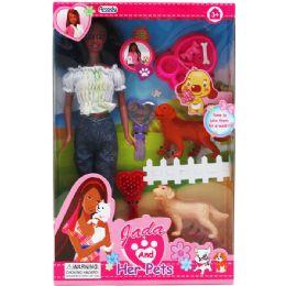 "12 Bulk 11.5"" Ethnic Jada Doll W/ Pets & Accss In Window Box"