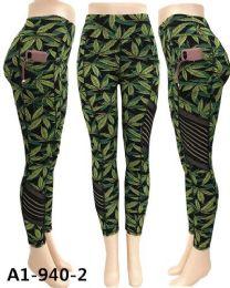 12 Bulk Marijuana Leaf Print Legging Mesh Yoga Pants Pockets