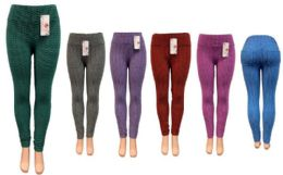 12 Bulk Ombre Leggings with 2 Packets at Back Assorted Colors