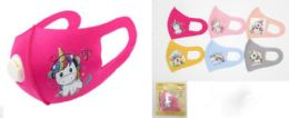 48 Bulk Kids Cloth Face Cover With Unicorn Design