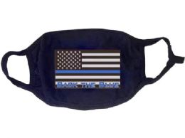24 Bulk Face Cover Back the Blue USA Flag All Black
