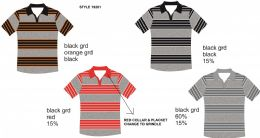 24 Bulk Men's Stripe Polo Shirt