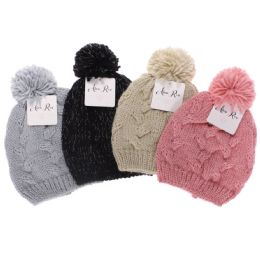 12 Bulk ALEXA ROSE GIRLS CABLE HAT WITH LUREX AND POM ASSORTED