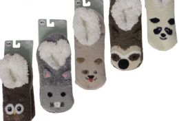 12 Bulk KIDS PILE FUR LINED ANIMAL SLIPPERS ASSORTED BY SNUGGLE FEET