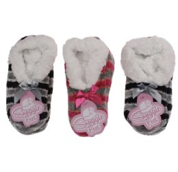 36 Bulk GIRLS SNUGGLE FEET CHENILLE STRIPED SLIPPER WITH SHERPA LINING