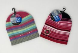 24 Bulk GIRLS STRIPED HAT WITH APPLIQUE ASSORTED