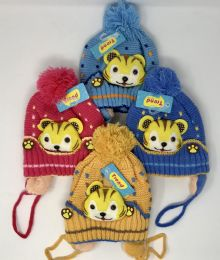 24 Bulk TODDLER FUR LINED KNIT ANIMAL HATS WITH EAR FLAPS