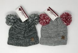 12 Bulk TODDLER CUFF KNIT HAT WITH TWO POMS BY GREAT NORTHERN