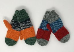 12 Bulk BOYS PATCHED CUFFED KNIT MITTENS ASSORTED