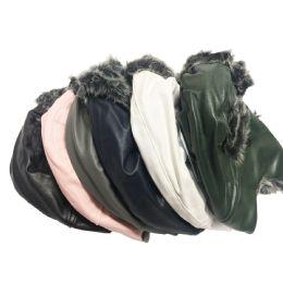72 Bulk Faux Leather Fur Lined Trapper Hat