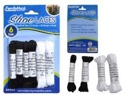 144 Bulk Shoe Laces 6 Pair Black And White Color