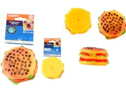 48 Bulk Squeaky Pet Toy Hamburger