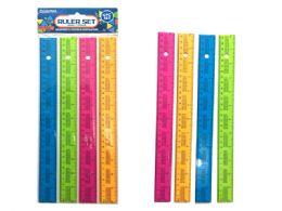 144 Bulk Rulers 4 Piece Assorted Color