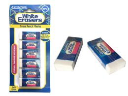 144 Bulk Erasers 6 Piece Set In White Color