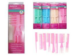 72 Bulk 8 Piece Hair Comb Set