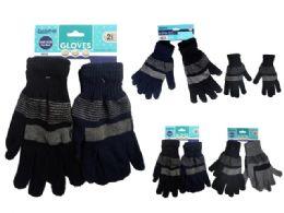 72 Bulk Gloves 2 Pair Striped